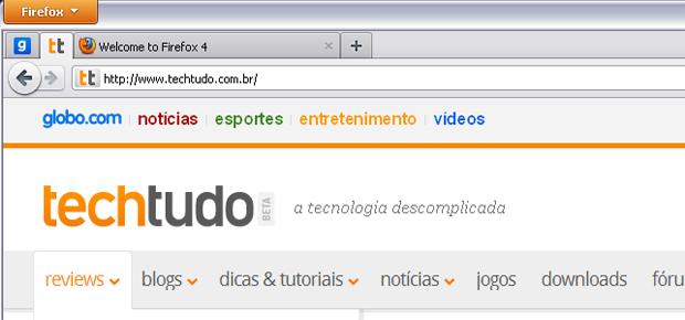 """Abas """"afixadas"""" no início da barra (Foto: Reprodução/TechTudo)"""