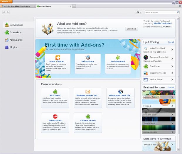 Gerenciador de Add-ons (Foto: Reprodução/TechTudo)