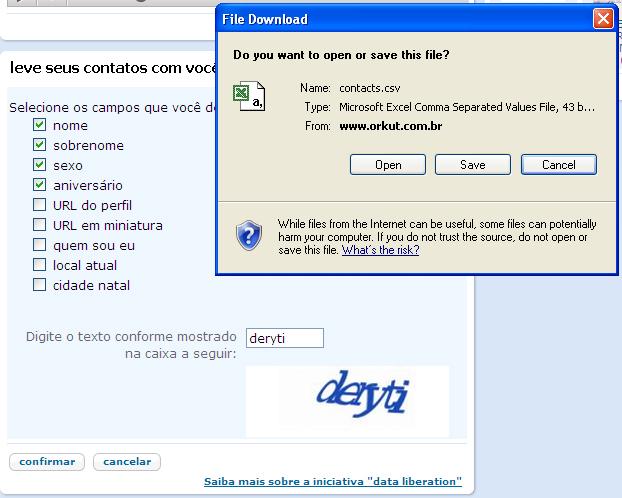 Exportar contatos do Orkut (Foto: Reprodução/TechTudo)