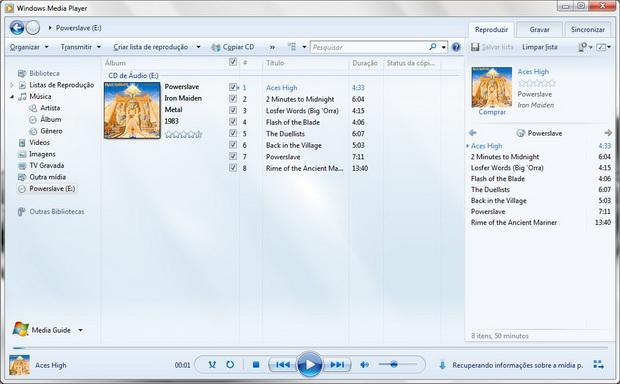 Abra o Windows Media Player 12 e insira o CD a ser copiado no seu drive  (Foto: Reprodução/Fernando Motta)