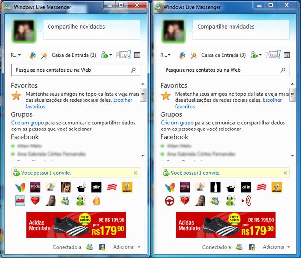 Duas contas do MSN em execução ao mesmo tempo (Foto: Reprodução/TechTudo)