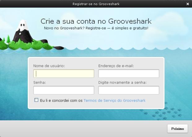 Criando sua conta no GrooveShark (Foto: Reprodução)