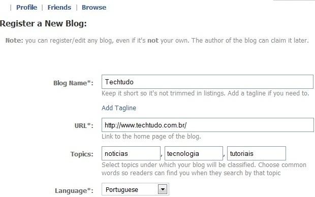 Preencha os dados do blog que você pretende associar ao seu profile (Foto: Reprodução/Fox Xavier)