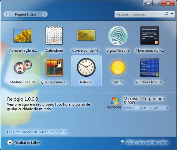 Gadgets do Windows 7 (Foto: Reprodução/TechTudo)