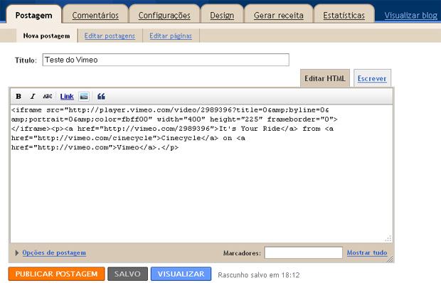 Código no Blogger (Foto: Reprodução/Gustavo Ribeiro)