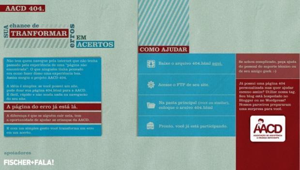 Página de erro da AACD (Foto: Divulgação)