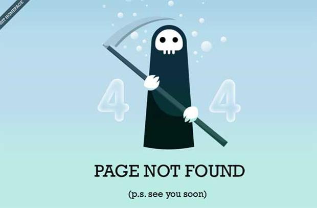A morte retratada no erro 404 do site Chris Jennings (Foto: Reprodução)