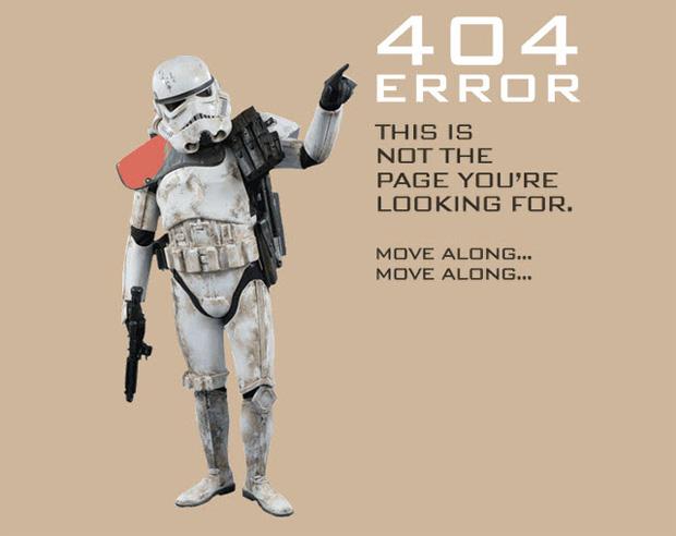Star Wars na página de erro do 501st Legion (Foto: Reprodução)
