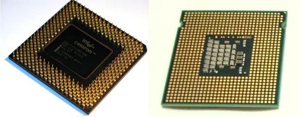 Exemplo de processador normal, à esquerda, e um processador embarcado, soldado diretamente à placa. (Foto: Divulgação/Divulgação)