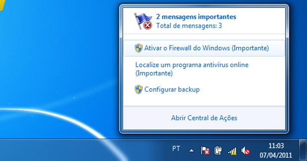 Reativando o Firewall do Windows 7 (Foto: Reprodução/TechTudo)
