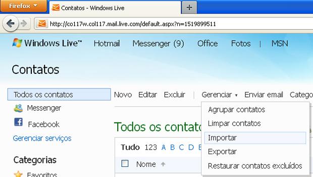 Importar contatos do Outlook no Hotmail (Foto: Reprodução/TechTudo)