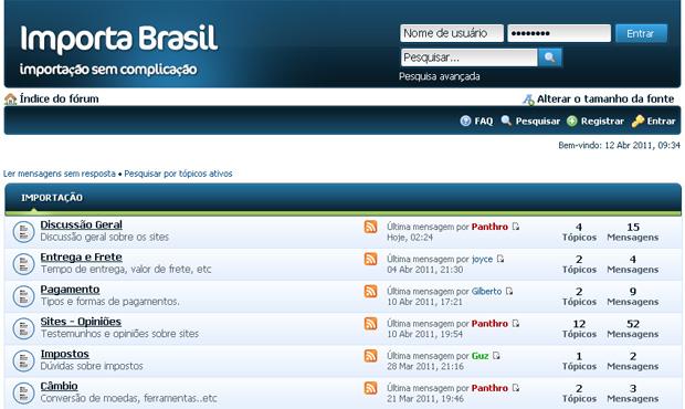 Importa Brasil, fórum para troca de informações sobre importação (Foto: Reprodução)