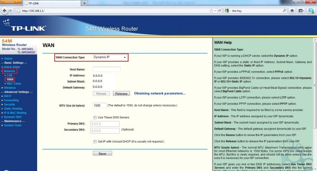 Configurando o roteador TP-LINK para IP dinâmico (Foto: Reprodução/Daniele Monteiro)