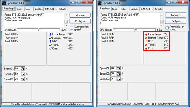 Exemplos de temperatura normal e excessiva (Foto: Reprodução/TechTudo)