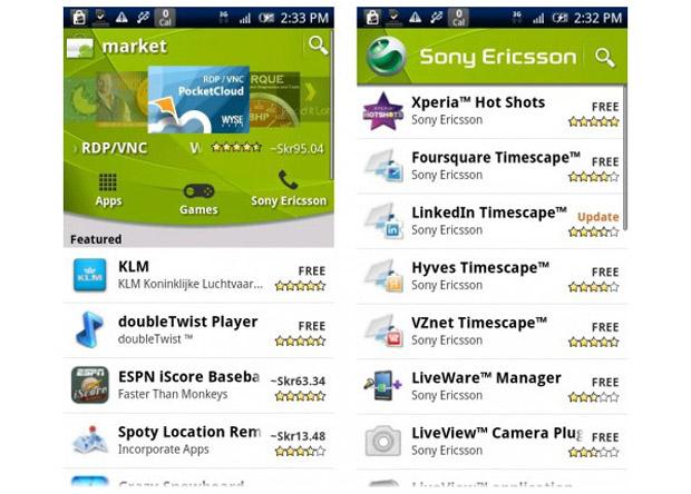 Canal da Sony Ericsson no Android Market (Foto: Reprodução)