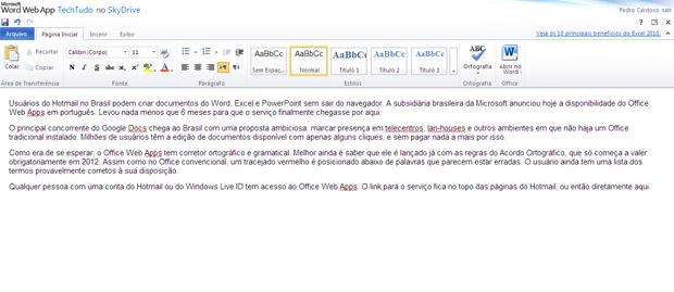 Microsoft Word WebApp (Foto: Divulgação)