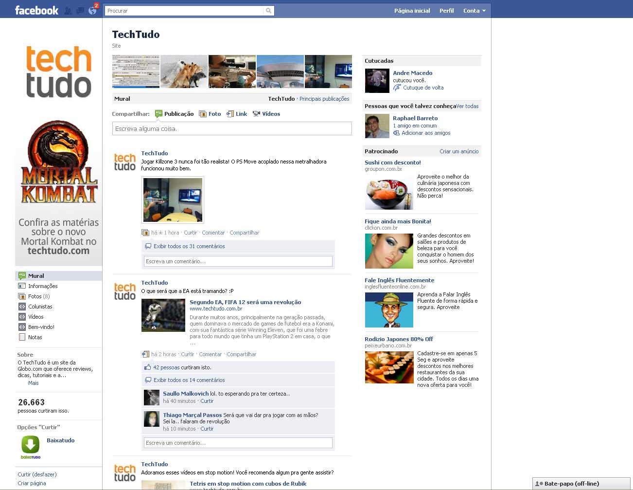 Perfil do TechTudo no Facebook do Brasil (Foto: Divulgação)