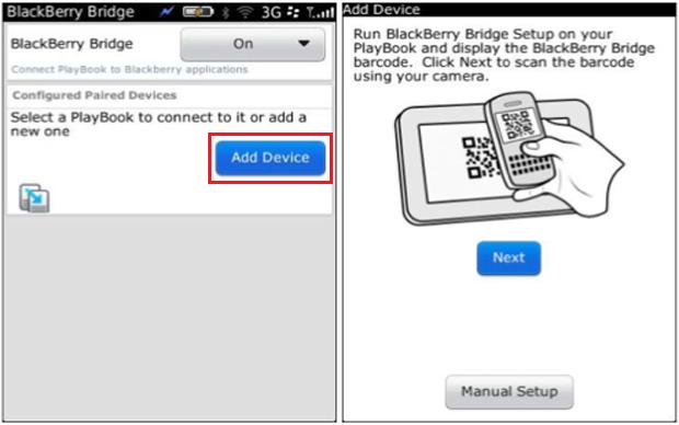 Para scannear o código de barras, aponte a câmera do BlackBerry no código de barras que aparece na tela do PlayBook (Foto: Reprodução/Dalton Oliveira)