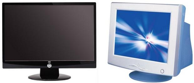 Monitores LCD e CRT (Foto: Reprodução/Paulo Higa)