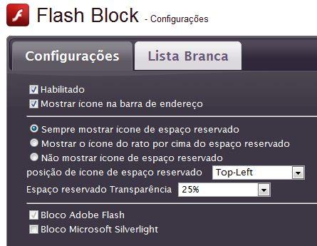 Configurações do FlashBlock (Foto: Reprodução/Fábio Marinho)