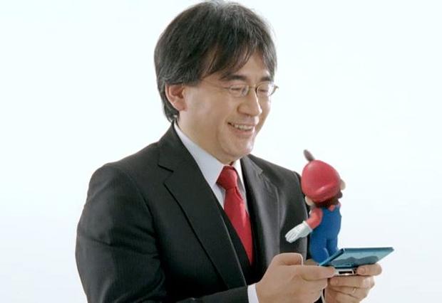 Satoru Iwata, Presidente da Nintendo, e Mario brincando com o Nintendo 3DS (Foto: Divulgação)