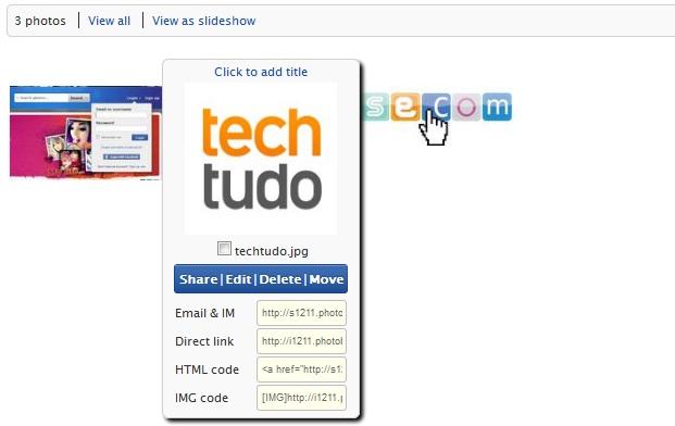 Posicione o mouse sobre uma imagem e tenha acesso ao código de incorporação e a url direta (Foto: Reprodução/Fox Xavier)