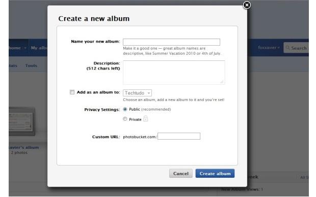 Dê um nome ao seu álbum e escolha se ele será privado ou público (Foto: Reprodução/Fox Xavier)