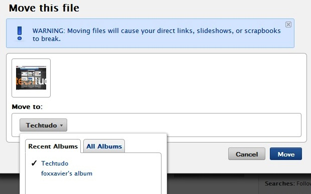 Site permite a transferência de imagens de um álbum para o outro (Foto: Reprodução/Fox Xavier)