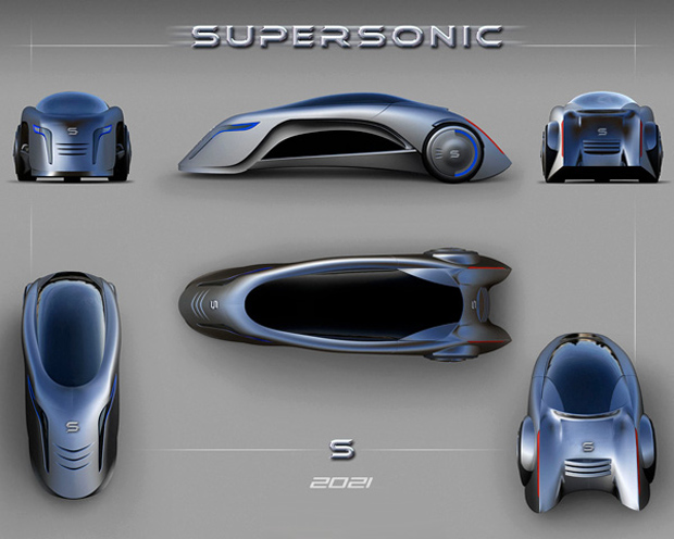 Supersonic, o futurístico carro de três rodas (Foto: Divulgação)