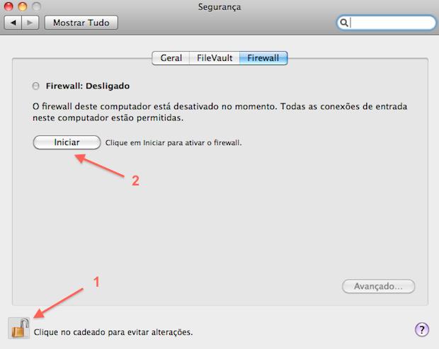 Ativando o firewall no Mac (Foto: Reprodução/Calebe Aires)