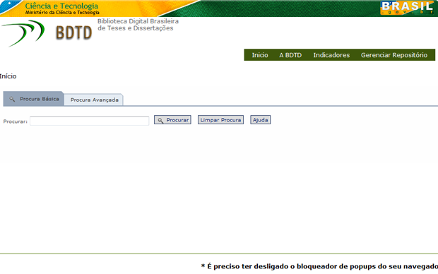 Biblioteca Digital Brasileira de Teses e Dissertações (BDTD) (Foto: Reprodução)