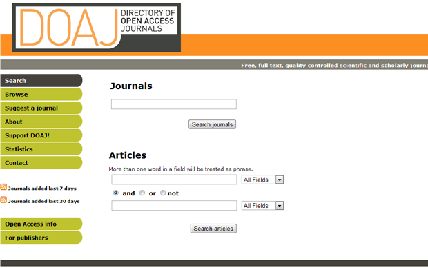 Directory of Open Access Journals (DOAJ) (Foto: Reprodução)