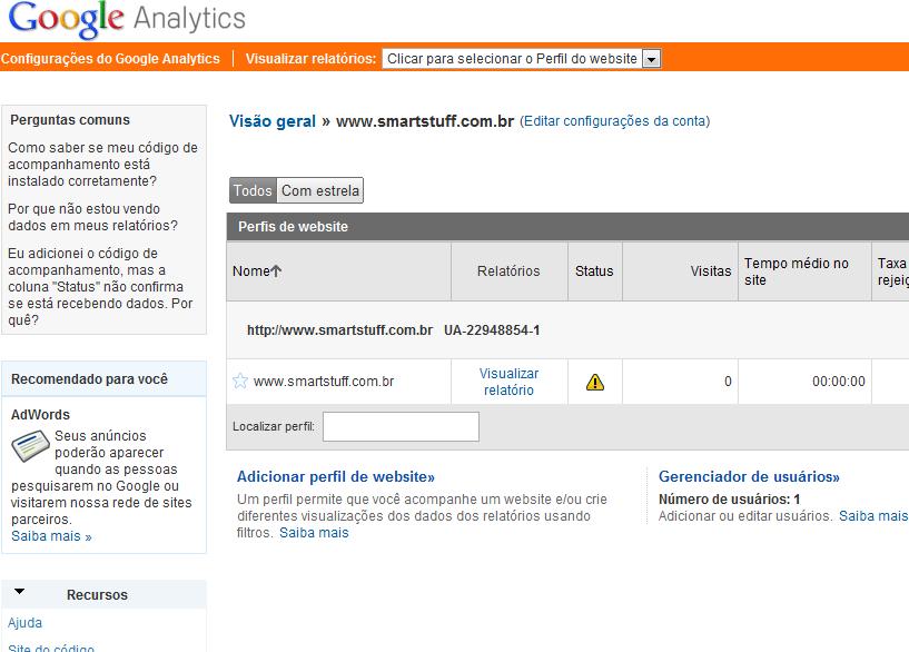 Visão geral do Google Analytics (Foto: Reprodução)