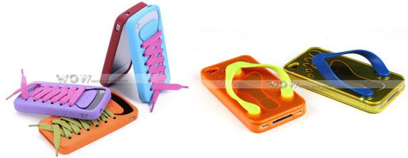 Cases das séries iShoe e Flip-Flop Iphone 4, respectivamente.  (Foto: Divulgação)