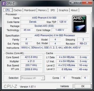CPU-Z com AMD Phenom II X4 980 (Foto: Reprodução/Electronista)