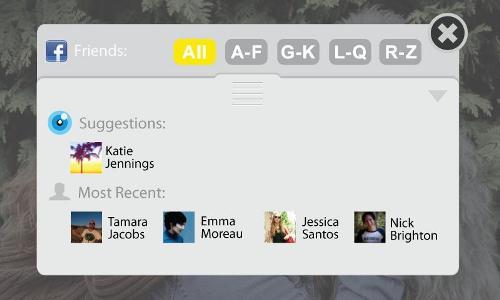 Sugestão de amigos no Viewdle SocialCamera (Foto: Divulgação)