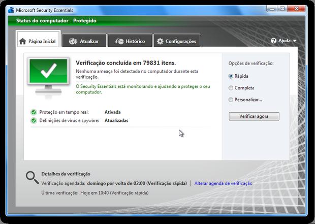 Microsoft Security Essentials (Foto: Reprodução/Paulo Higa)