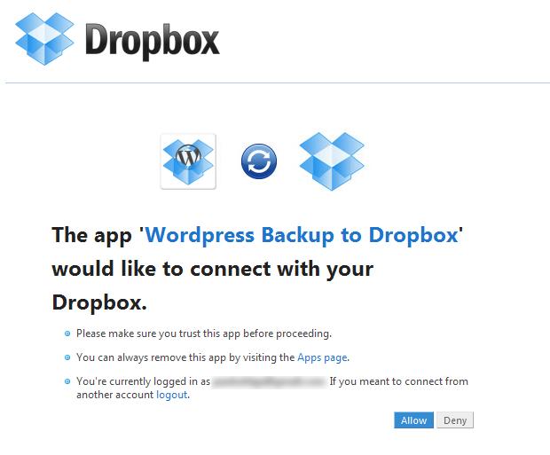 Autorizando o acesso do plugin WordPress Backup to Dropbox (Foto: Reprodução/Paulo Higa)