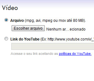 Inserindo vídeo no Mercado Livre (Foto: Reprodução)