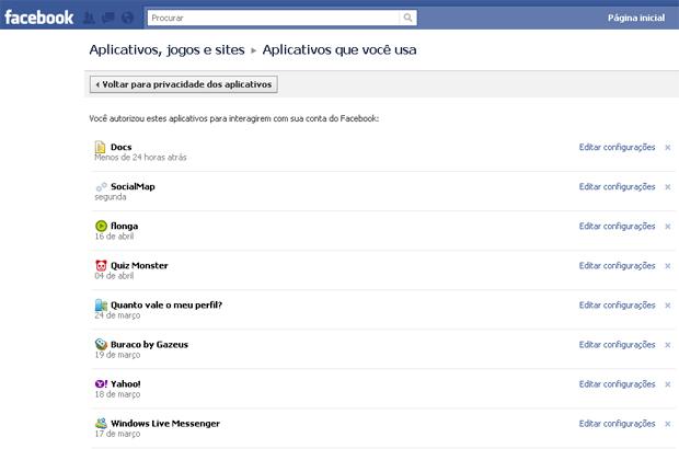 Configurações de aplicativos do Facebook (Foto: Reprodução/TechTudo)
