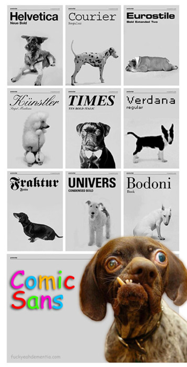 "Cachorros e suas ""fontes"" (Foto: Fuck Yeah Dementia)"