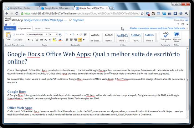 Office Web Apps (Foto: Reprodução/Paulo Higa)