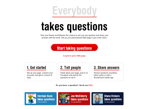 Takes Questions, aplicativo criado para o SoundCloud (Foto: Reprodução)