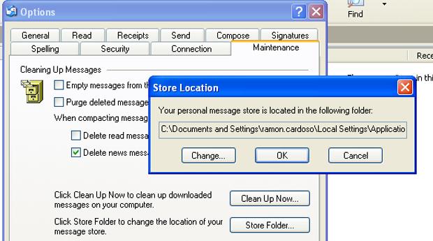Outlook Express: Pasta de armazenamento (Foto: Reprodução/TechTudo)