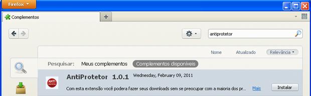 AntiProtetor para Firefox (Foto: Reprodução/TechTudo)