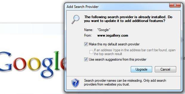 Adicionando o Google como buscador padrão do Internet Explorer (Foto: Reprodução/TechTudo)