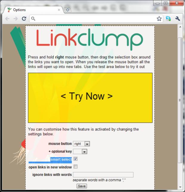 Página de teste e configuração do Linkclump (Foto: Reprodução/Emerson Alecrim)