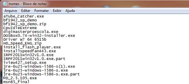 Lista com os nomes de todos os arquivos, em ordme alfabética (Foto: Reprodução/TechTudo)