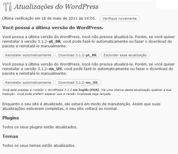 Atualização do WordPress (Foto: Reprodução/Paulo Higa)