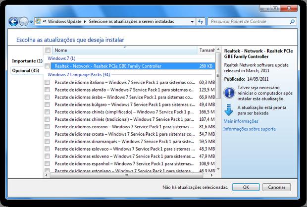Windows Update no Windows 7 (Foto: Reprodução/Paulo Higa)
